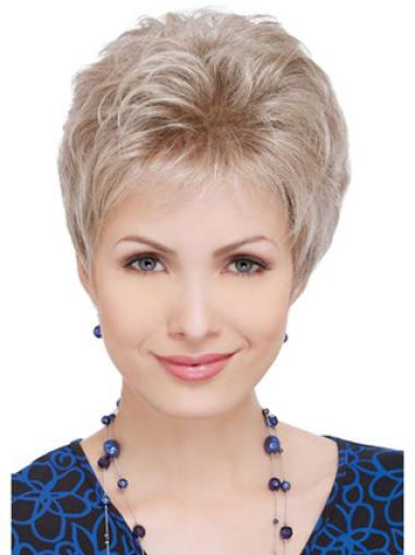 Ideal Blonde Wavy Cropped Celebrity Wigs For Cancer