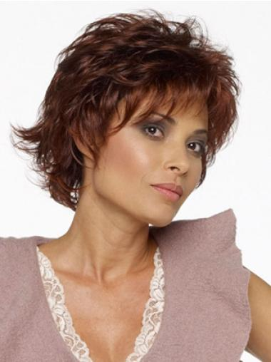 Ideal Auburn Layered Wavy Short Wigs