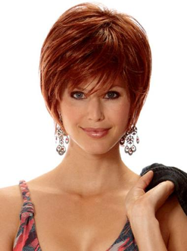 Fashionable Auburn Layered Straight Short Wigs