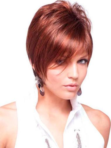 Red Unique Boycuts Straight Short Wigs