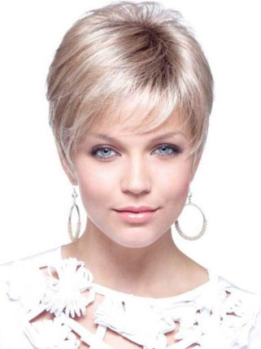 Elegant Blonde Straight Cropped Petite Wigs