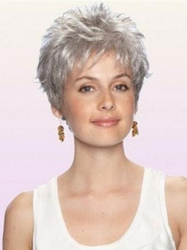 Preferential Wavy Cropped Synthetic Grey Wigs For Cancer