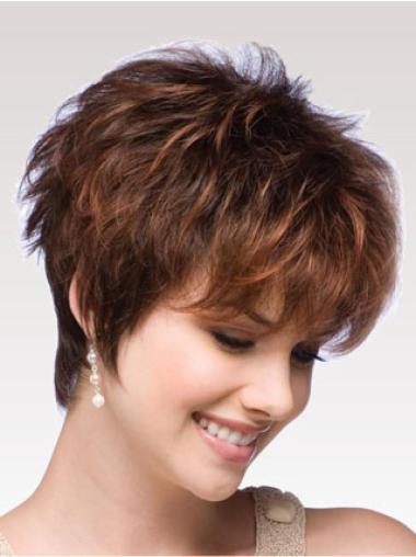 Affordable Auburn Boycuts Wavy Short Wigs
