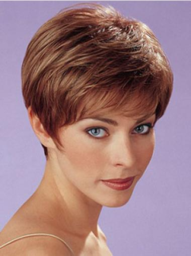 Gentle Auburn Boycuts Straight Short Wigs