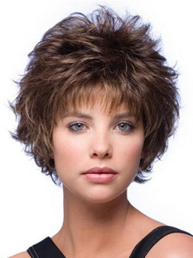 Brown New Layered Wavy Short Wigs