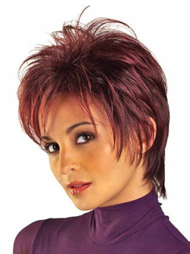 Soft Red Straight Wigs For Cancer