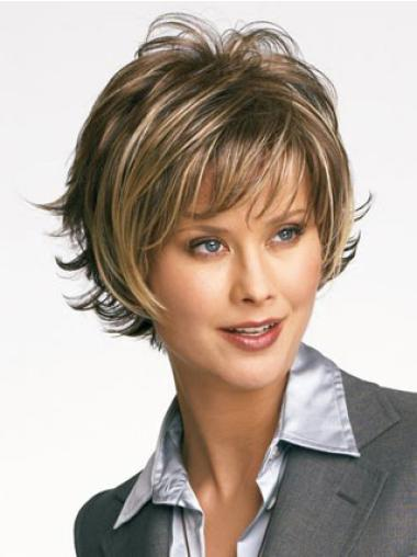 Brown High Quality Layered Wavy Short Wigs
