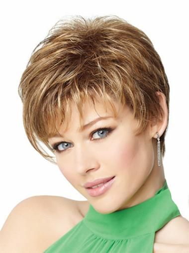 Pleasing Monofilament Boycuts Blonde Short Wigs