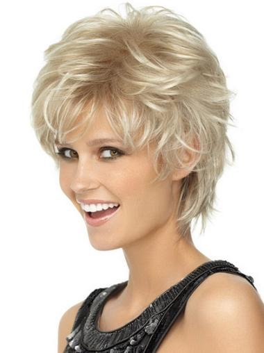 Blonde Wavy Synthetic Modern Short Wigs