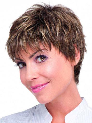 Monofilament Boycuts Perfect Straight Short Wigs