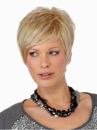 Elegant Straight Boycuts Blonde Short Wigs