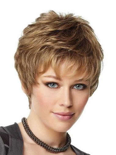 Brown Stylish Boycuts Wavy Short Wigs