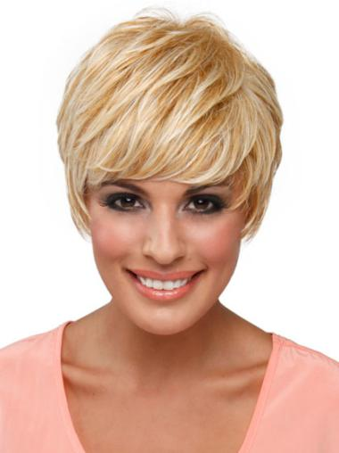 Gorgeous Blonde Straight Cropped Celebrity Wigs