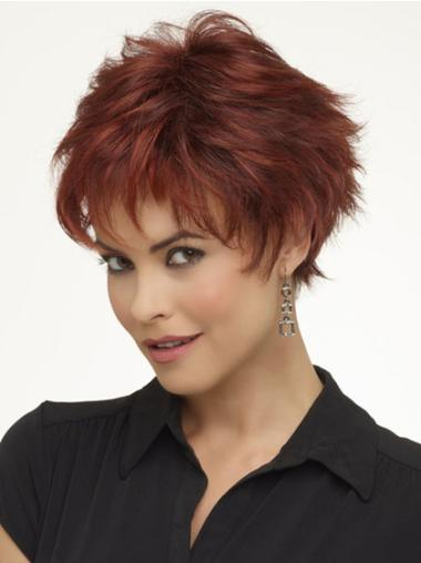 Red Fabulous Boycuts Wavy Short Wigs