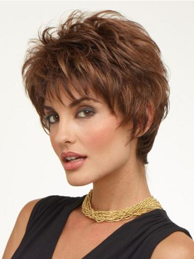 Modern Brown Wavy Cropped Wigs For Cancer