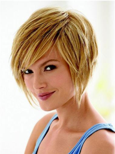 Unique Blonde Straight Chin Length Wigs For Cancer
