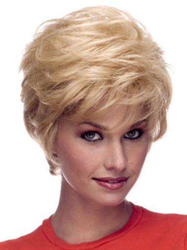 Polite Blonde Wavy Short Celebrity Wigs