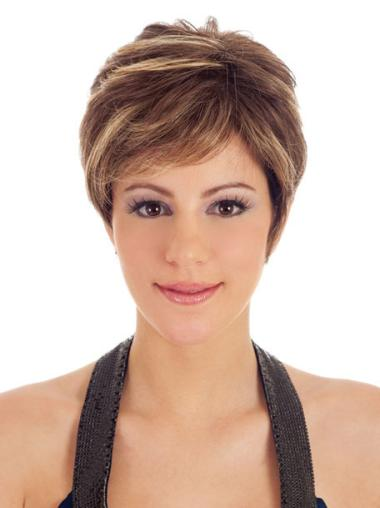 Brown Soft Boycuts Straight Short Wigs