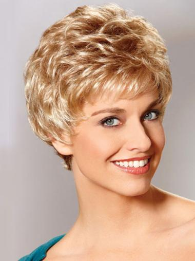 Mature Monofilament Wavy Cropped Classic Wigs