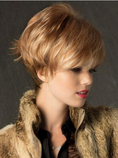 Style Straight Boycuts Blonde Short Wigs