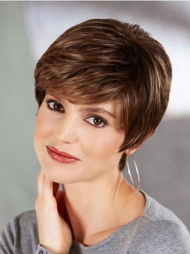 Brown No-fuss Boycuts Straight Short Wigs