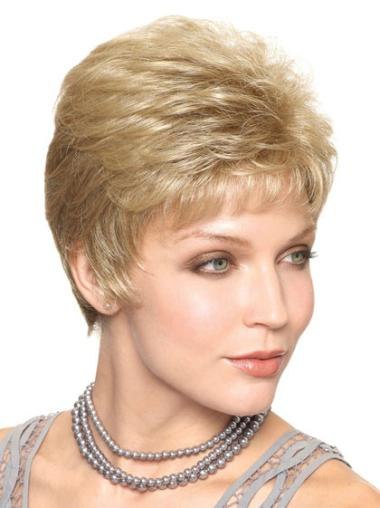 Elegant Blonde Straight Cropped Classic Wigs