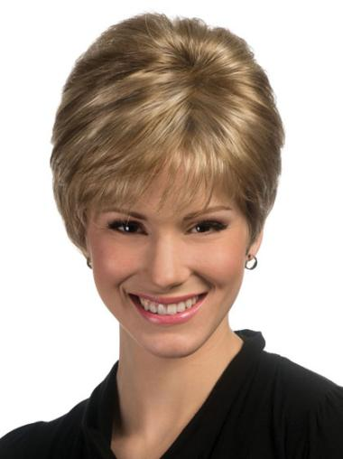 Blonde Straight Synthetic Unique Short Wigs
