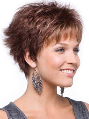 Braw Auburn Wavy Cropped Wigs For Cancer