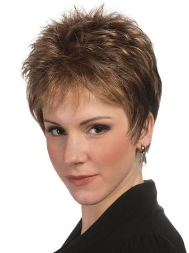 Brown Boycuts Sleek Straight Short Wigs