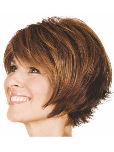 Brown Discount Bobs Wavy Short Wigs