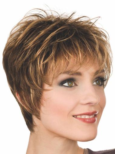 Fashionable Auburn Boycuts Straight Short Wigs