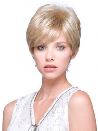 Fashionable Monofilament Boycuts Blonde Wigs For Cancer