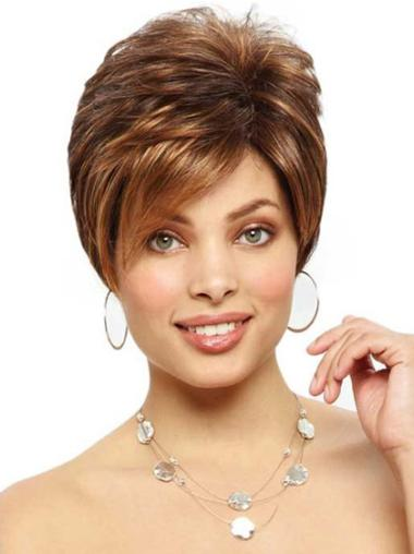 Monofilament Popular Boycuts Straight Short Wigs