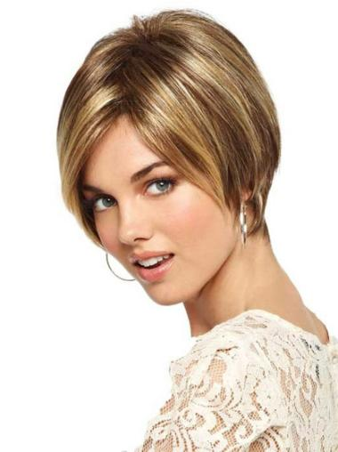 Gorgeous Monofilament Bobs Blonde Wigs For Cancer