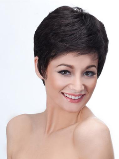 Black Straight Synthetic Radiant Short Wigs