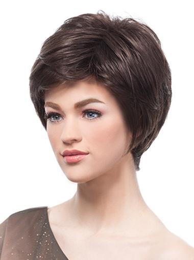 Monofilament Polite Boycuts Straight Short Wigs