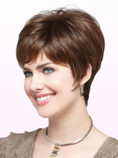 Monofilament Boycuts Style Straight Wigs For Cancer