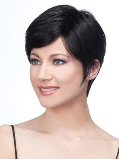 Black Lace Front Remy Human Hair Stylish Short Wigs