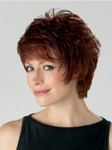 Natural Auburn Layered Wavy Short Wigs