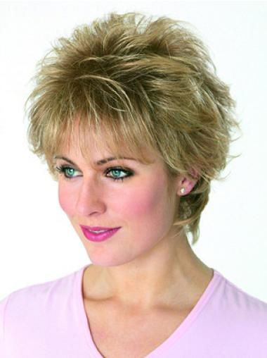 Blonde Traditiona Boycuts Wavy Short Wigs