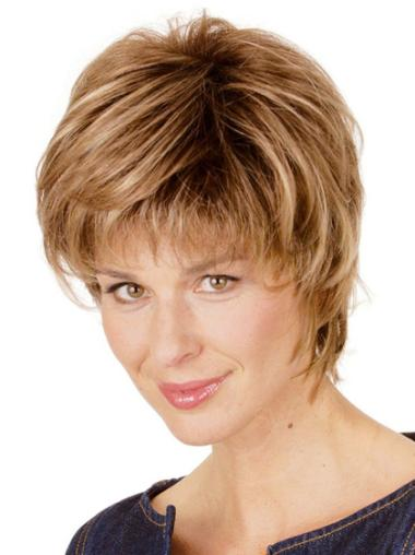 Blonde Straight Synthetic Easy Short Wigs