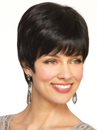 Black Straight Remy Human Hair Preferential Short Wigs