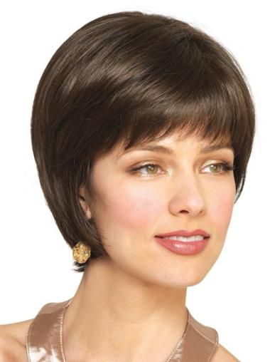 Brown Straight Remy Human Hair Unique Short Wigs