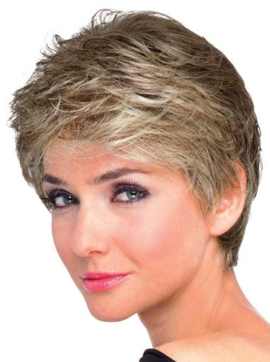 Brown Shining Boycuts Wavy Short Wigs