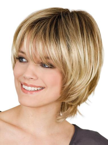 Blonde Straight Synthetic Cosy Short Wigs