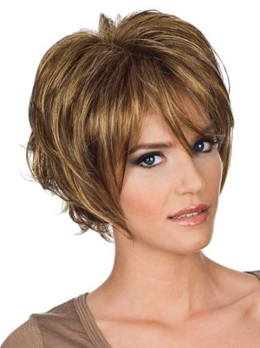 Style Auburn Layered Wavy Short Wigs