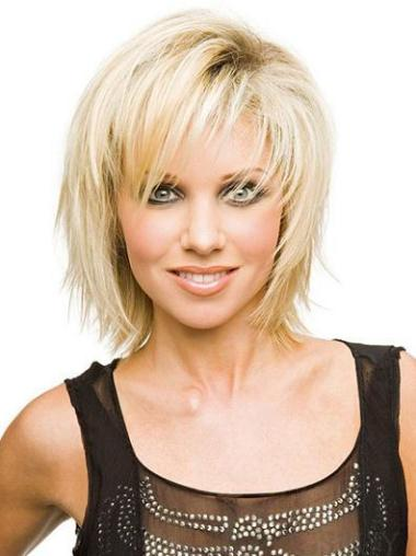 Blonde Straight Synthetic Shining Short Wigs