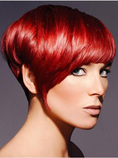 Red Beautiful Boycuts Straight Short Wigs