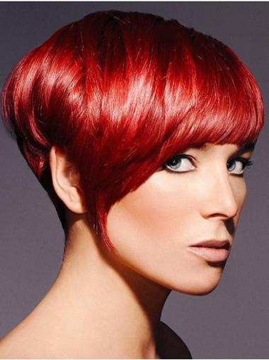 Red Beautiful Boycuts Straight Short Wigs