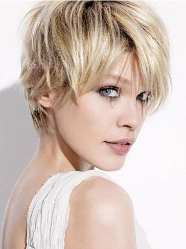 Faddish Straight Boycuts Blonde Short Wigs